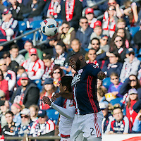 Foxborough, Massachusetts - March 12, 2016: In a Major League Soccer (MLS) match, the New England Revolution (blue/white) tied D.C. United (white), 0-0, at Gillette Stadium.