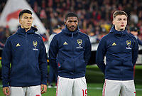 (L-r) Gabriel Martinelli, Ainsley Maitland-Niles & Kieran Tierney of Arsenal during the UEFA Europa League match between Arsenal and Standard Liege at the Emirates Stadium, London, England on 3 October 2019. Photo by Andrew Aleks.