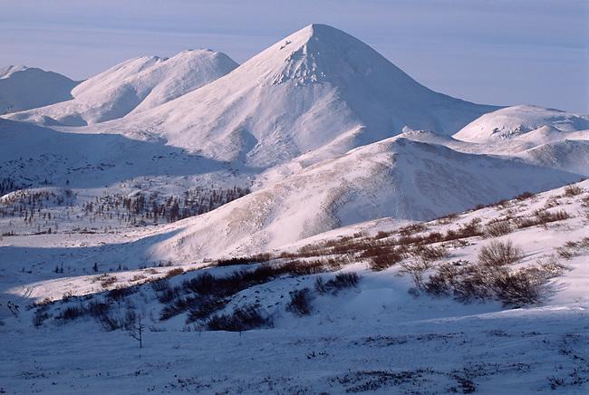 View of the Kolyma Mountain Range from Vanya Pass. Northern Evensk, Magadan Region, Eastern Siberia, Russia