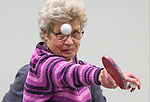 Barbel Naeslund practices for the Reno Tahoe Senior Games table tennis competition at the Carson City Senior Citizen Center in Carson City, Nev., on Friday, Jan. 29, 2016. <br /> Photo by Cathleen Allison