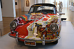 1965 Type 356C Cabriolet from the Collection of the Joplin Family, supplied by the Rock and Roll Hall of Fame Museum. This car was purchased in 1968 by Janis Joplin. Originially painted by her friend Dave Richards, the current livery is a recreation. The Porsche By Design show at the North Carolina Museum of Art in Raleigh, North Carolina on January 23, 2014.