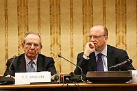 Pier Carlo Padoan, ministro delle Finanze Vincenzo Boccia, presidente Confindustria, durante la conferenza stampa  a margine di Italy is Now and Next