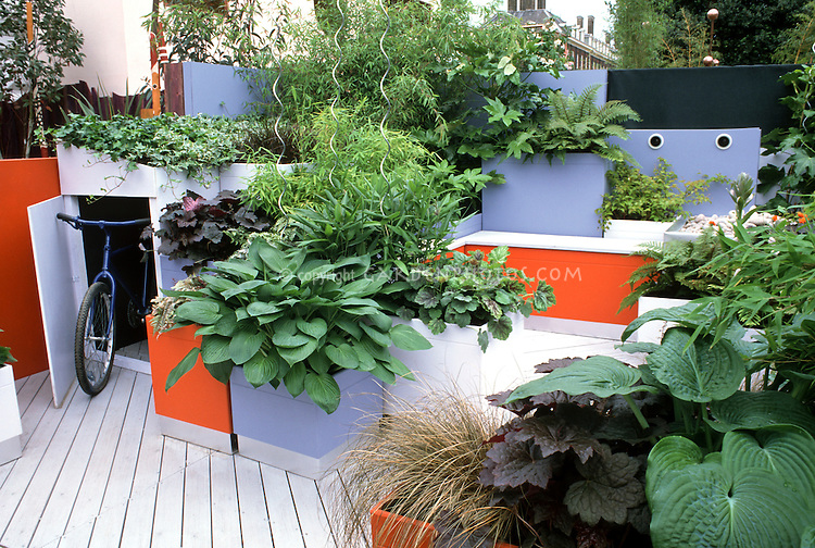 Urban Container And Raised Bed Deck Orange And Blue Color