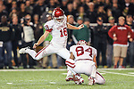 Oklahoma Sooners kicker Michael Hunnicutt (18) in action during the game between the Oklahoma Sooners and the Baylor Bears at the Floyd Casey Stadium in Waco, Texas. Baylor defeats OU 41 to 12.