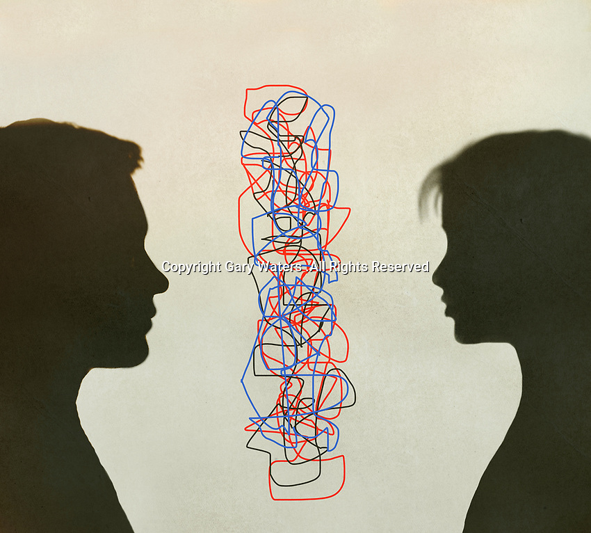 Tangled lines separating couple