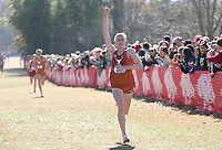 NWA Democrat-Gazette/DAVID GOTTSCHALK Sam Worley, with the University of Texas, finishes first Friday, November 15, 2019, at the NCAA South Regional at the Agri Park course in Fayetteville. The University of Texas won the overall team title.