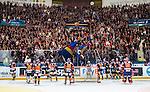 Stockholm 2014-03-27 Ishockey Kvalserien Djurg&aring;rdens IF - R&ouml;gle BK :  <br /> Djurg&aring;rdens supportrar och spelare jublar efter matchen<br /> (Foto: Kenta J&ouml;nsson) Nyckelord:  DIF Djurg&aring;rden R&ouml;gle RBK Hovet jubel gl&auml;dje lycka glad happy supporter fans publik supporters