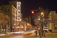 The Rialto Theater's Marquee glows brightly at night, Joliet, Illinois