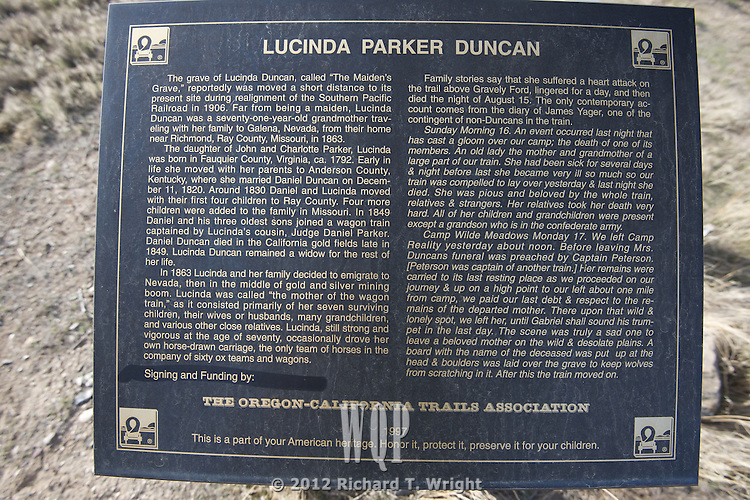 The Maiden's Grave on the California Trail marks the grave of Lucinda Parker Duncan who died nearby at Gravely Ford on the Huimbolt River, Nevada.