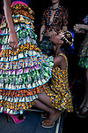 JOHANNESBURG, SOUTH AFRICA - MARCH 31: Models help each other adjusting the clothes backstage before a show at Joburg Fashion Week on March 31, 2012, in Johannesburg, South Africa. (Photo by Per-Anders Pettersson)