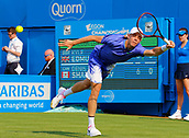 June 19th 2017, Queens Club, West Kensington, London; Aegon Tennis Championships, Day 1; Denis Shapovalov (CAN) hits a forehand during his 1st round singles match against Kyle Edmund (GBR)