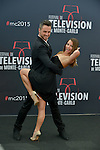 """Christian Millette and Bulgarian dancer Denitsa Ikonomova pose at a photocall for the TV series 'Dance with star"""" during the 55th Monte Carlo TV Festival on June 14, 2015 in Monte-Carlo, Monaco"""