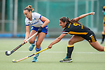 Mannheim, Germany, September 07: During the field hockey Bundesliga match between Mannheimer HC and Harvestehuder THC on September 7, 2019 at Am Neckarkanal in Mannheim, Germany. Final score 2-0. (Photo by Dirk Markgraf / www.265-images.com) *** Florencia Habif #18 of Mannheimer HC, Valentina Bisconti Stringhetti #9 of Harvestehuder THC