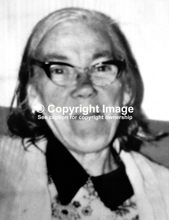 Martha Lavery, 66 years, married, North Belfast, N Ireland, shot dead whilst watching television in her home. The fatal shooting happened in the Ardoyne district during a gun batttle between British soldiers and members of the Official IRA on 5th August 1974. 197408050426...Copyright Image from Victor Patterson, 54 Dorchester Park, Belfast, United Kingdom, UK...For my Terms and Conditions of Use go to http://www.victorpatterson.com/Victor_Patterson/Terms_%26_Conditions.html