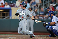 The Reno Aces Ryan Budde #6 swings at the bal during the game against the Omaha Storm Chasers at Werner Park on August 3, 2012 in Omaha, Nebraska.(Dennis Hubbard/Four Seam Images)