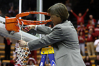 BERKELEY, CA - MARCH 30: Head coach Tara Vanderveer cuts down the net following Stanford's 74-53 win against the Iowa State Cyclones on March 30, 2009 at Haas Pavilion in Berkeley, California.