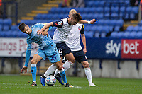 Bolton Wanderers' Dennis Politic (centre) competing with Coventry City's Zain Westbrooke (left) <br /> <br /> Photographer Andrew Kearns/CameraSport<br /> <br /> The EFL Sky Bet Championship - Bolton Wanderers v Coventry City - Saturday 10th August 2019 - University of Bolton Stadium - Bolton<br /> <br /> World Copyright © 2019 CameraSport. All rights reserved. 43 Linden Ave. Countesthorpe. Leicester. England. LE8 5PG - Tel: +44 (0) 116 277 4147 - admin@camerasport.com - www.camerasport.com