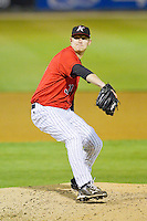 Kannapolis Intimidators relief pitcher Ryan Bollinger (31) in action against the Rome Braves at CMC-Northeast Stadium on April 25, 2013 in Kannapolis, North Carolina.   (Brian Westerholt/Four Seam Images)