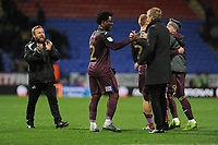 Wilfried Bony of Swansea City shakes hands with Graham Potter Manager of Swansea City at full time during the Sky Bet Championship match between Bolton Wanderers and Swansea City at the Macron Stadium in Bolton, England, UK. Saturday 10 November 2018