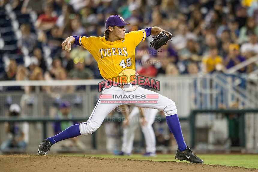 LSU Tigers pitcher Parker Bugg (46) delivers a pitch to the plate against the TCU Horned Frogs in Game 10 of the NCAA College World Series on June 18, 2015 at TD Ameritrade Park in Omaha, Nebraska. TCU defeated the Tigers 8-4, eliminating LSU from the tournament. (Andrew Woolley/Four Seam Images)