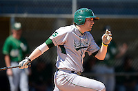 Slippery Rock outfielder Brandon Myers (9) during a game against the Wayne State Warriors on March 15, 2013 at Chain of Lakes Park in Winter Haven, Florida.  (Mike Janes/Four Seam Images)