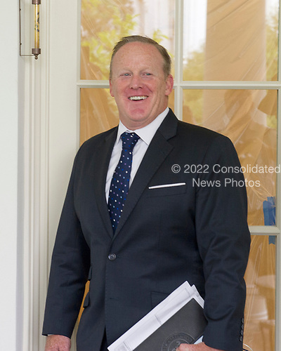 Outgoing White House press secretary Sean Spicer is photographer outside the Oval Office in the White House West Wing in Washington, DC as it is undergoing renovations while United States President Donald J. Trump is vacationing in Bedminster, New Jersey on Friday, August 11, 2017.  <br /> Credit: Ron Sachs / CNP
