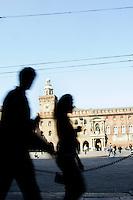 Una veduta di Piazza Maggiore, con la facciata principale del Palazzo Comunale sullo sfondo, a Bologna.<br /> A view of Piazza Maggiore, with the main front of the Communal Palace in background, in Bologna.<br /> UPDATE IMAGES PRESS/Riccardo De Luca