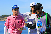 Kevin Streelman (USA) and NFL Arizona Cardinals wide receiver Larry Fitzgerald after sinking his birdie putt at the 5th green during Sunday's Final Round of the 2018 AT&amp;T Pebble Beach Pro-Am, held on Pebble Beach Golf Course, Monterey,  California, USA. 11th February 2018.<br /> Picture: Eoin Clarke | Golffile<br /> <br /> <br /> All photos usage must carry mandatory copyright credit (&copy; Golffile | Eoin Clarke)