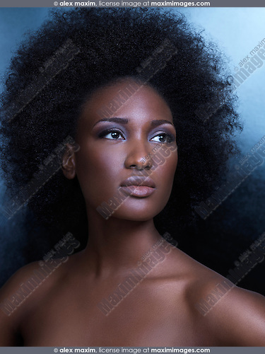 Beauty portrait of a young african american woman with big natural hair
