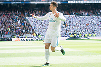 Real Madrid Cristiano Ronaldo celebrating a goal during La Liga match between Real Madrid and Atletico de Madrid at Santiago Bernabeu Stadium in Madrid, Spain. April 08, 2018. (ALTERPHOTOS/Borja B.Hojas) /NortePhoto NORTEPHOTOMEXICO