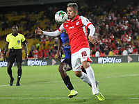 BOGOTÁ- COLOMBIA, 01-09-2019:Roger Torres (Der.) jugador del Independiente Santa Fe    disputa el balón contra Didier Moreno (Izq.) jugador del Independiente Medellín durante partido por la fecha 9 de la Liga Águila II  2019 jugado en el estadio Nemesio Camacho El Campín  de la ciudad de Bogotá. /Roger Torres  (R) player of Independiente Santa Fe  fights for the ball  against of Didier Moreno (L) player of Independiente Medellin  during the match for the date 9 of the Liga Aguila II 2019 played at the Nemesio Camacho El Campin  stadium in Bogota city. Photo: VizzorImage / Felipe Caicedo / Staff