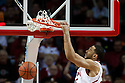 December 14, 2013: Walter Pitchford (35) of the Nebraska Cornhuskers dunks the ball against the Arkansas State Red Wolves at the Pinnacle Bank Areana, Lincoln, NE. Nebraska defeated Arkansas State 79 to 67.
