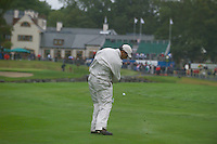 Smurfit Kappa European Open, K Club Straffin, Co Kildare..Jeev Milkha Singh plays his ball over the water on the 18th in the 3rd round..Photo: Eoin Clarke/ Newsfile.