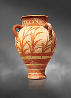 Minoan clay pot decorted with a floral design , Knossos Palace 1500-1450 BC BC, Heraklion Archaeological  Museum, grey background.