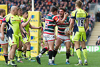 Owen Williams of Leicester Tigers celebrates his second half try with team-mate Freddie Burns. Aviva Premiership match, between Leicester Tigers and Sale Sharks on April 29, 2017 at Welford Road in Leicester, England. Photo by: Patrick Khachfe / JMP