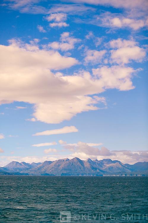 Kodiak Island as seen from the Alaska Marine Ferry, fall, gulf of Alaska.