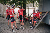 Jasper Stuyven (BEL/Trek-Segafredo) & teammates pre-race as he is about to race in his hometown of Leuven (BEL)<br /> <br /> 52nd GP Jef Scherens - Rondom Leuven 2018 (1.HC)<br /> 1 Day Race: Leuven to Leuven (186km/BEL)