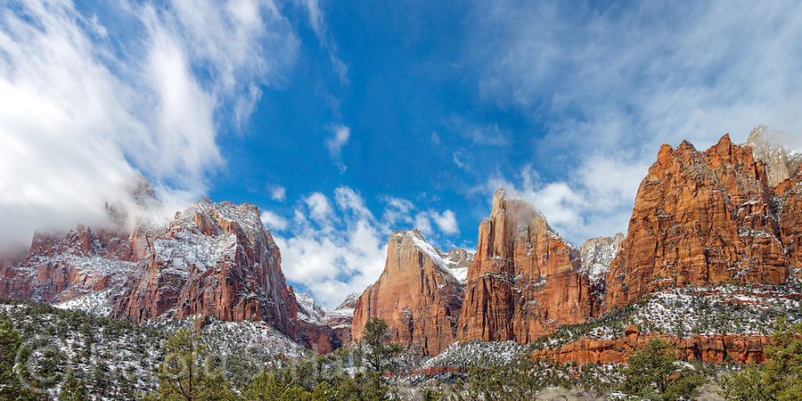 A clearing storm at the Court of the Patriarchs in Zion National Park Utah.