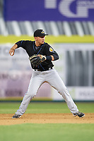 Akron RubberDucks second baseman Mark Mathias (23) throws to first base during a game against the Binghamton Rumble Ponies on May 12, 2017 at NYSEG Stadium in Binghamton, New York.  Akron defeated Binghamton 5-1.  (Mike Janes/Four Seam Images)