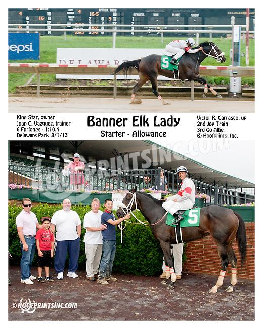 Banner Elk Lady winning at Delaware Park on 8/1/13