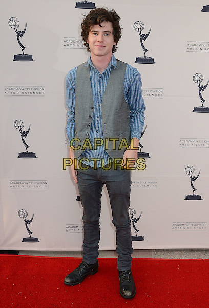 "Charlie McDermott.An Evening With ""The Middle"" Presented By The Academy of Television Arts and Sciences held at the Leonard H. Goldenson Theatre, North Hollywood, California, USA..26th March 2012 .full length blue shirt grey gray waistcoat jeans denim.CAP/ADM/BT.©Birdie Thompson/AdMedia/Capital Pictures."
