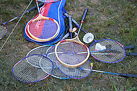 Assortment of badminton rackets and shuttlecocks. Zawady Central Poland