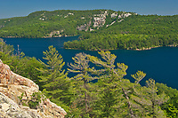 View of Killarney Lake, white pine trees (Pinus strobus) and the La Cloche Hills from the summit of a Precambiran shield<br />