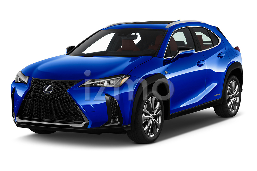 2019 Lexus UX F-Sport-4wd 5 Door SUV Angular Front automotive stock photos of front three quarter view