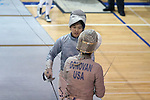 12 February 2017: Duke's Jennifer Ling (above) and Boston College's Laura Donovan (below) during their Saber match. The Duke University Blue Devils hosted the Boston College Eagles at Card Gym in Durham, North Carolina in a 2017 College Women's Fencing match. Duke won the dual match 19-8 overall, 6-3 Foil, 5-4 Epee, and 8-1 Saber.