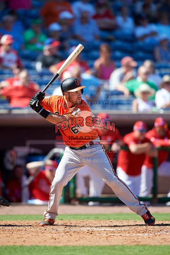 Baltimore Orioles catcher Austin Wynns (61) at bat during a Grapefruit League Spring Training game against the Philadelphia Phillies on February 28, 2019 at Spectrum Field in Clearwater, Florida.  Orioles tied the Phillies 5-5.  (Mike Janes/Four Seam Images)