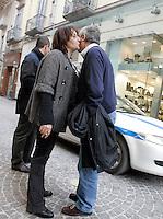 """La giornalista de """"Il Mattino"""" Rosaria Capacchione saluta un conoscente, a Caserta, 14 novembre 2008..UPDATE IMAGES PRESS/Riccardo De Luca"""