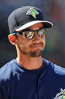 Manager Jose Leger (19) of the Columbia Fireflies in a game against the Greenville Drive on Sunday, April 24, 2016, at Fluor Field at the West End in Greenville, South Carolina. Greenville won, 5-1. (Tom Priddy/Four Seam Images)