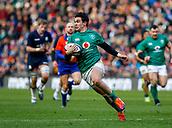 9th February 2019, Murrayfield Stadium, Edinburgh, Scotland; Guinness Six Nations Rugby Championship, Scotland versus Ireland; Joey Carbery (Ireland) breaks clear
