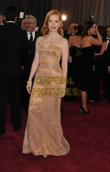Jessica Chastain (wearing Armani Prive).85th Annual Academy Awards held at the Dolby Theatre at Hollywood & Highland Center, Hollywood, California, USA..February 24th, 2013.oscars full length blush strapless dress gown sweetheart neckline gold sparkly  .CAP/ROT/TM.©Tony Michaels/Roth Stock/Capital Pictures